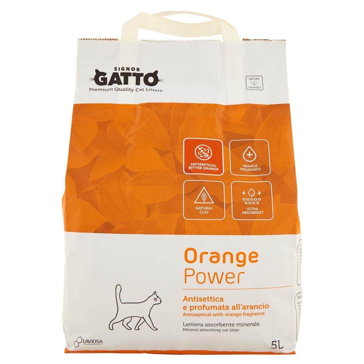 Image of Lettiera per gatti Assorbente Minerale Orange Power 5 L